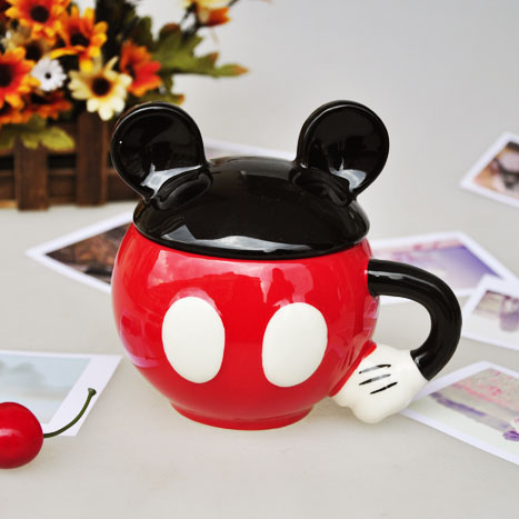 Mickey Mouse Ceramic Mug With Lid Cup Breakfast Cup