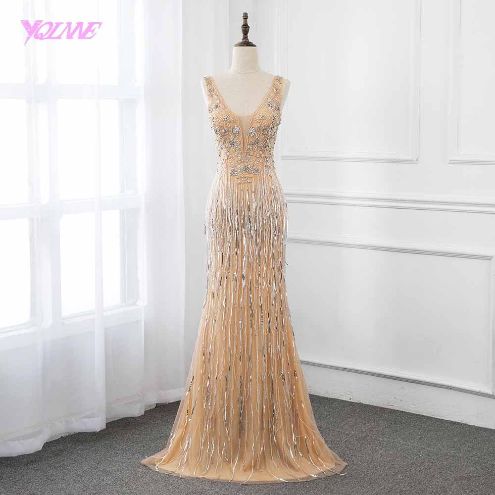 2019 Fashion Nude Long Crystals   Prom     Dresses   Sleeveless Tassels Pageant   Dress   Robe de Soiree YQLNNE