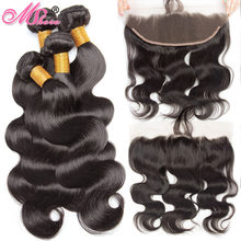 Brazilian Body Wave Human Hair Bundles With Closure Mshere Hair Ear To Ear Lace Frontal Closure With Bundles With Baby Hair 5PCS(China)
