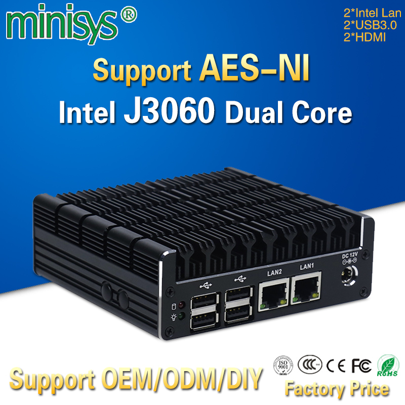 Minisys Latest Intel J3060 Fanless Mini PC Dual Gigabit Lan NUC Case Barebones Computer Linux Support