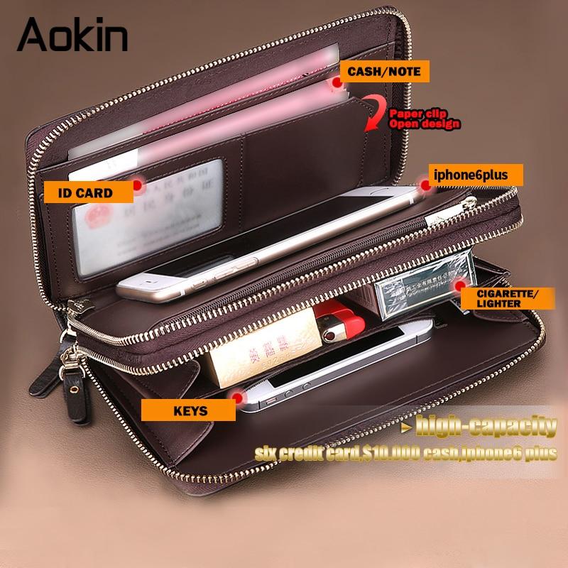 Цена за Aokin деловые мужчины долго бумажник двойной молнии кожаный кошелек чехол для iPhone 7 плюс большой емкости Чехлы для мобильных телефон случаях