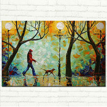 Handpainted Modern A Walk in the Park Oil Heavy Palette Knife Texture painting on canvas for wall decoration