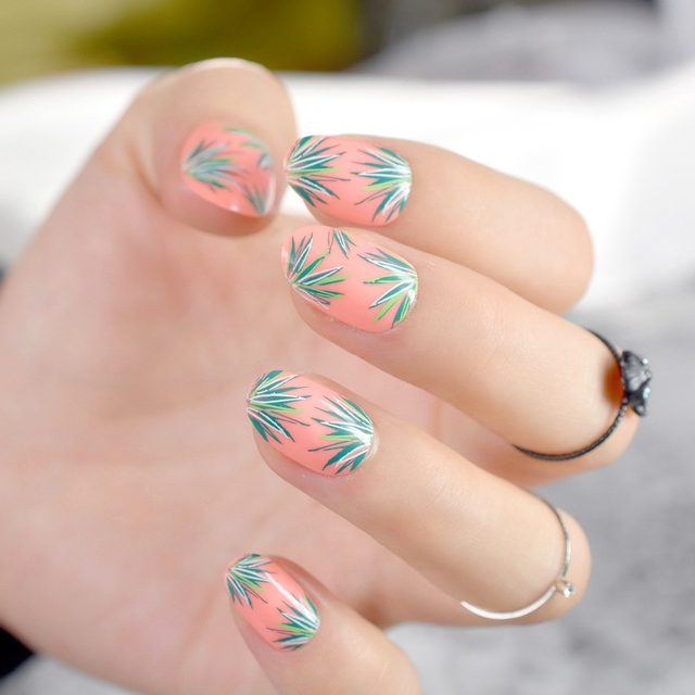 Simple Orange Short Fake Nail Art Tips Gr Design Kit Round Acrylic Finished Nails For Makeup