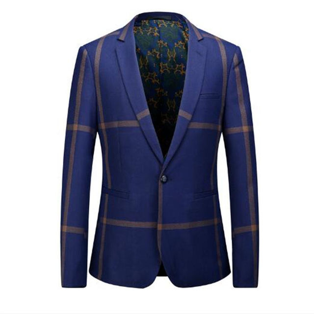 bb14ff970c17 Spring And Autumn Of The New Men's Business Casual Plaid Suit Korean  Version Of A Small Piece Of Western Style Suit Jacket