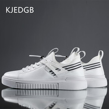 KJEDGB New 2019 PU Leather Casual Shoes Men Solid Black White Elastic Band Walking Adult Male Shoes Loafers Rubber Sole(China)