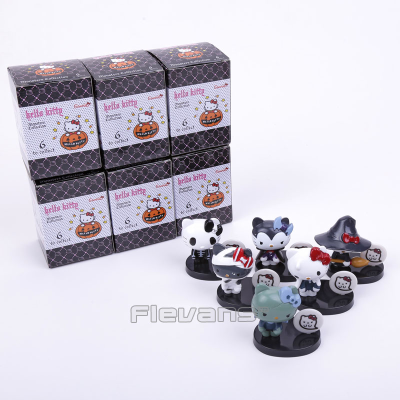 Hello Kitty Monsters Collection Halloween Series Mini PVC Figure Collectible Model Toys 6pcs/set 5cm Boxed free shipping hello kitty toys kitty cat fruit style pvc action figure model toys dolls 12pcs set christmas gifts ktfg010