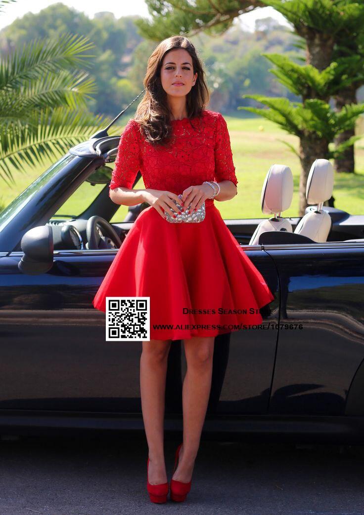 dc858c1a9 Robe de Cocktail 2015 de Encaje Sin Espalda Vestidos de Fiesta Corto Prom  Vestidos de Cuello Barco Con Mangas de Color Rojo Vestido de Cóctel Para  Las ...