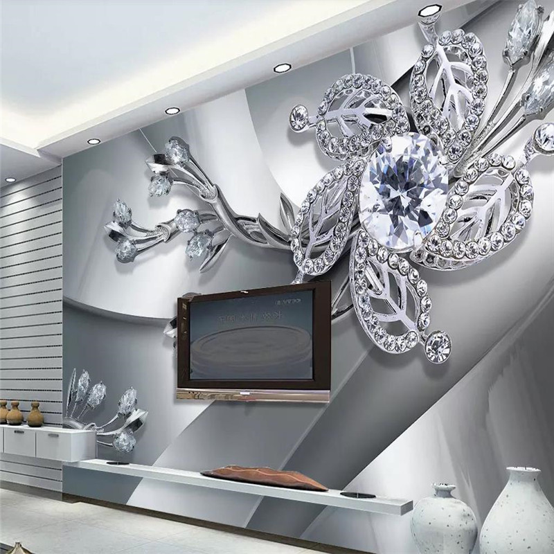 Custom 3d mural diamond jewelry TV background wall decoration painting wallpaper photo
