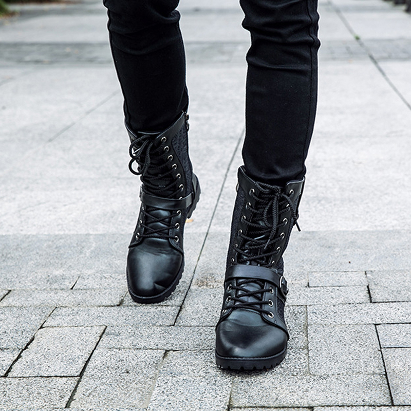 Tangnest Sonbahar Punk Çizmeler Erkekler Moda PU Deri Dantel-up - Erkek Ayakkabıları - Fotoğraf 5