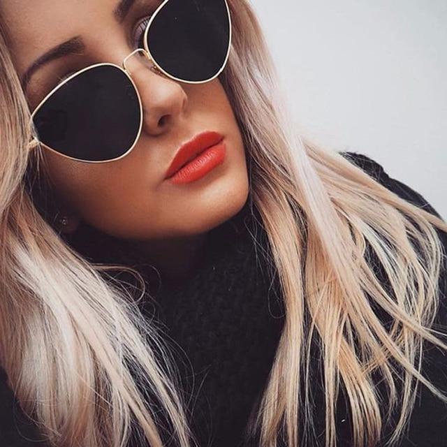 1ae9a23438 Sunglasses women 2018 Luxury Brand Designer Red Lens Fashion Cat Retro Eye  Sun Glasses Triangle Vintage