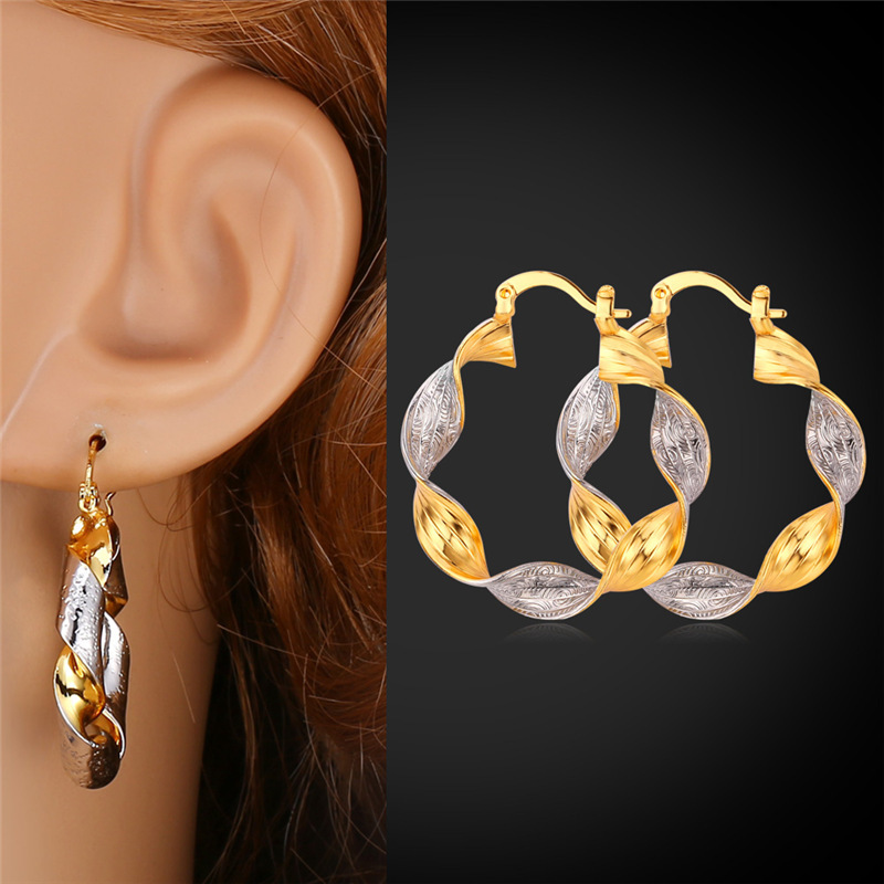 Starlord Vintage Earrings For Women Gold Color 2 Tone Color Basketball Wife Fashion Jewelry Hoop Earrings E990