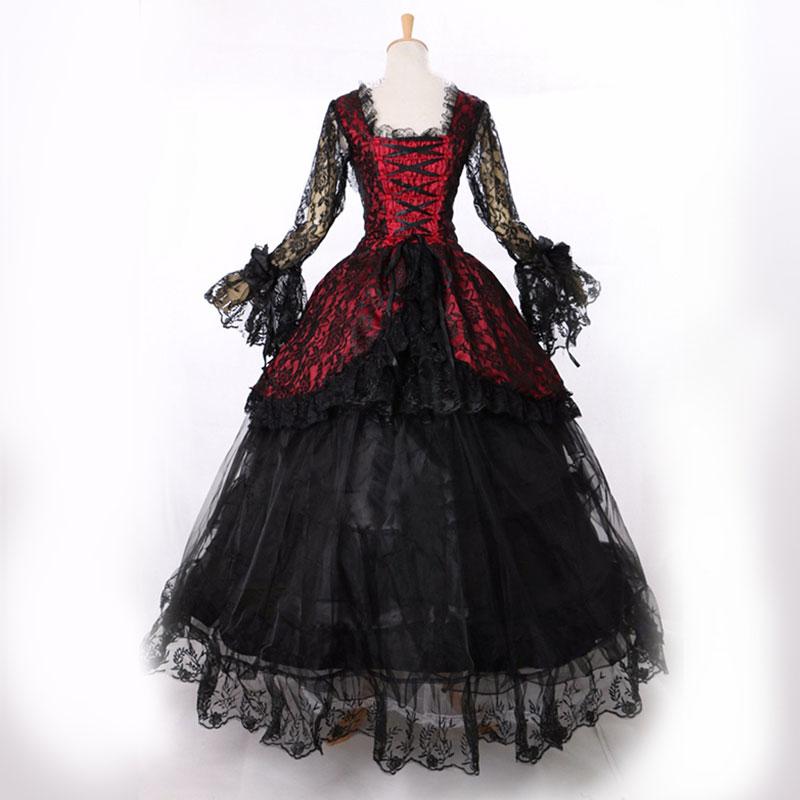 ขายร้อน 2016 สีดำยาวแขนลูกไม้ Gothic Victorian จัดเลี้ยงชุด 18th Century schwarz ชุด Marie Antoinette-ใน ชุดเดรส จาก เสื้อผ้าสตรี บน   1