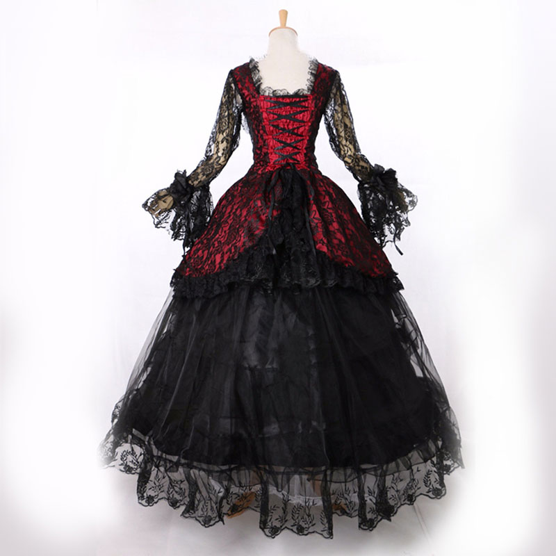 Kadın Giyim'ten Elbiseler'de Sıcak Satış 2016 Siyah Uzun Kollu Dantel Gotik Victorian Ziyafet Elbise 18th Yüzyıl schwarz Marie Antoinette Elbise'da  Grup 1