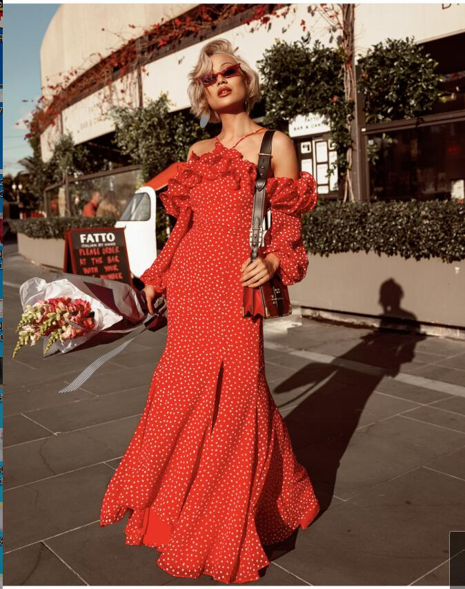 Missord 2019 Autumn&WINTER Sexy Ruffles long Sleeve red Print Elegant Dresses Halter spilt dress Maxi long dot Dress FT186235