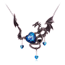 New Gothic Necklace For Women Steampunk Choker Crystal Heart Charms Dragon Vintage Gothic Jewelry Accessories Dropshipping