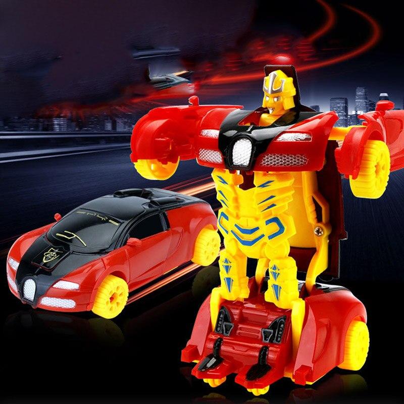 Mini Sports Car Kid Robot Car Transformation Robots Models Deformation Car fighting toy Kids Childrens Boys Birthday gift