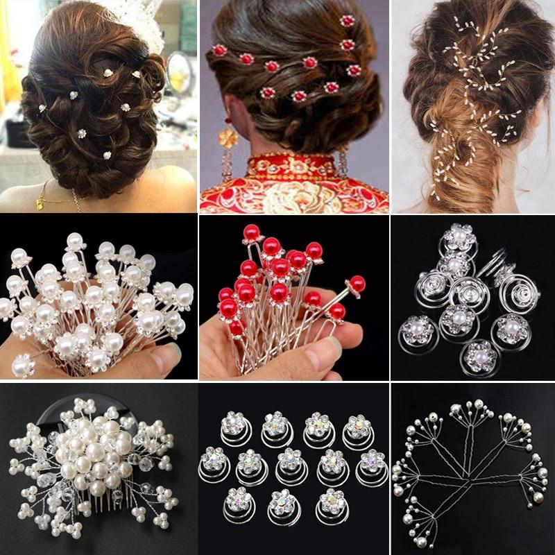 Hot 20pcs Flower Crystal Hair Pins Clips Wedding Bridal Party Hair Accessories