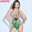UMLIFE Sport Monokini One piece set Women bathing suits 2018 New Women 3D Animal Print Swimsuits Ladies Leopard swimwear Sexy