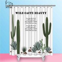 NYAA Achtergrond Met Cactus En Succulente Desert Planten Douchegordijnen Polyester Stof Gordijnen Voor Home Decor