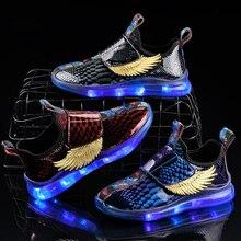 Детский Светильник с крыльями; детская обувь с подсветкой; Светящиеся кроссовки для мальчиков и девочек; вечерние светящиеся кроссовки