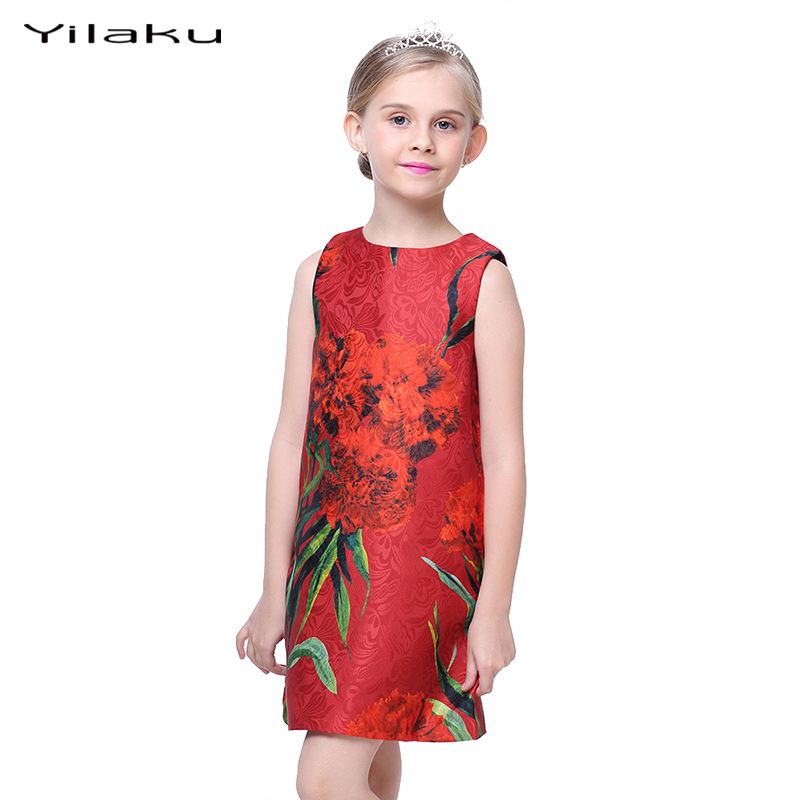 Yilaku Elegant Girl Dresses Red Carnation Sleeveless Girls