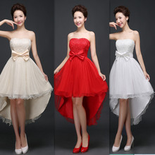 ZX48XB#Wholesale cheap 2016 short cheap bride wedding toast red party dress fashion bridesmaid dresses fish tail dress champagne