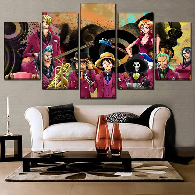 Home Canvas Hd Print Poster 5 Panel One Piece Animation Painting Modern Wall Art Classic Living Room Modular Picture Frame
