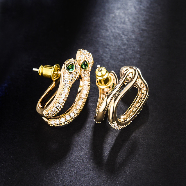 LCEOL New Trendy Green Eyes Cubic Zirconia Snake Earrings Women Gold Color Animal delicate Jewelry Egyptian.jpg 640x640 - LCEOL New Trendy Green Eyes Cubic Zirconia Snake Earrings Women Gold Color Animal delicate Jewelry Egyptian Monaco girls Gift