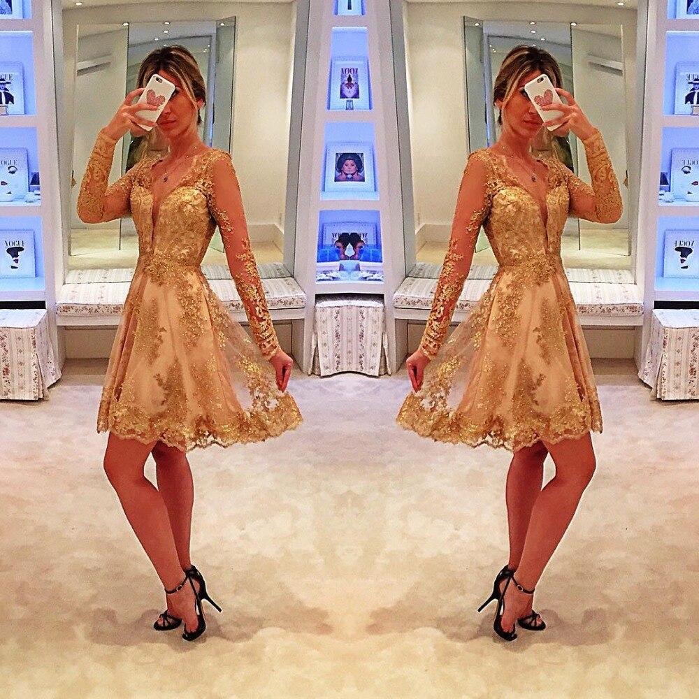 Cocktail Dresses Gold Plus Size Long Sleeve Short Evening Prom Dress 2019