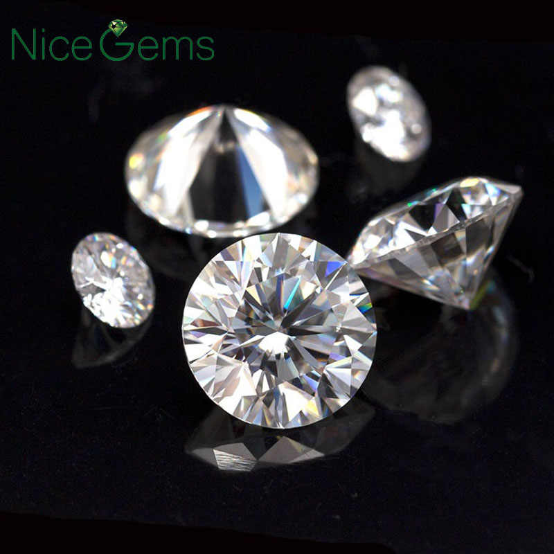 NiceGems D Color Moissanite 0.1CTW Excellent Hearts & Arrows Roud Colorless 3mm Moissanite Loose Gemstone Lab Grown Diamond