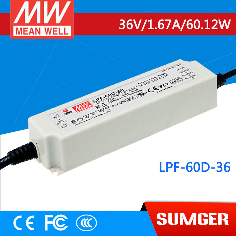 [NC-A] MEAN WELL original LPF-60D-36 36V 1.67A meanwell LPF-60D 36V 60.12W Single Output LED Switching Power Supply [mean well] original lpf 60d 30 30v 2a meanwell lpf 60d 30v 60w single output led switching power supply
