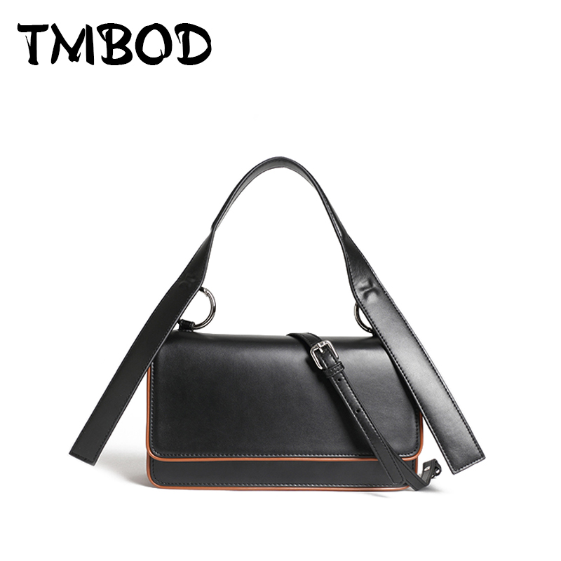 New 2018 Design Women Panelled Trunk Tote Chic Messenger Bag Split Leather Handbags Lady Crossbody Bags For Female an955