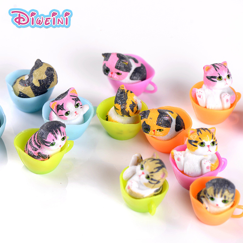 4pcs Cup Cat Kitten Figurine Little Animal Model Miniature Cartoon Anime Plastic Girl Toy Miniature Figurine Creative Toy