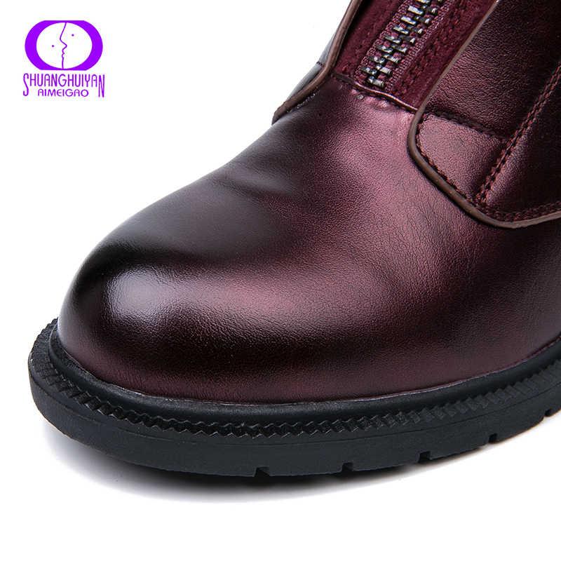 AIMEIGAO Yeni Fermuar yarım çizmeler Kadınlar Yumuşak PU Deri Çizmeler Düşük Topuk Kısa Peluş Çizmeler Ön Zip Sonbahar Siyah Kırmızı Kadınlar ayakkabı