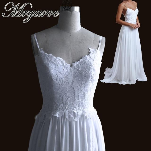 Mryarce Special Offer Simple Elegant Lace Open Back Wedding Dress Spaghetti  Straps Chiffon A Line Boho Beach Bridal Gowns 646100047d0b