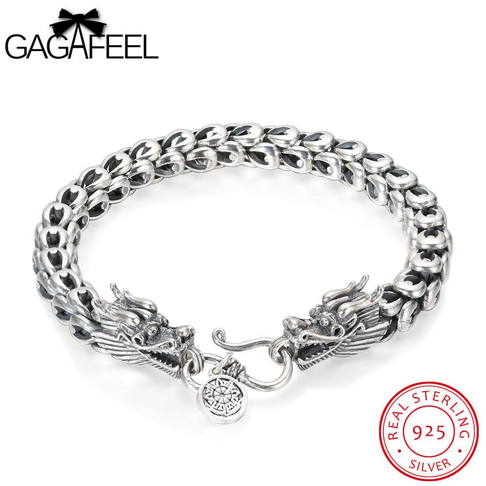 GAGAFEEL Vintage Thai Sterling Silver Bracelet Jewelry Cool Punk Dragon Scales Men Chain For Male 18-22CM Retro Fashion Accesory gagafeel vintage 925 sterling silver chain man necklace dragon head thai silver necklace for men jewelry punk style high quality