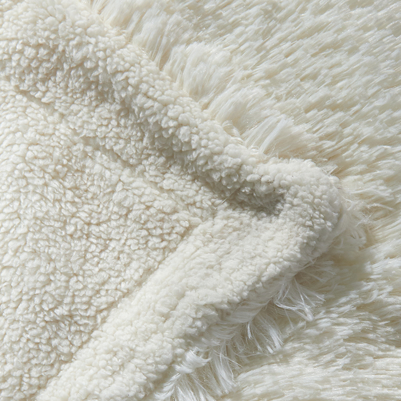 Europe Luxury Long Hair Faux Fur Throw Blanket Winter Fluffy Warm Double Face Blanket Solid color Yarn Dyed Velvet Mink Blankets in Blankets from Home Garden