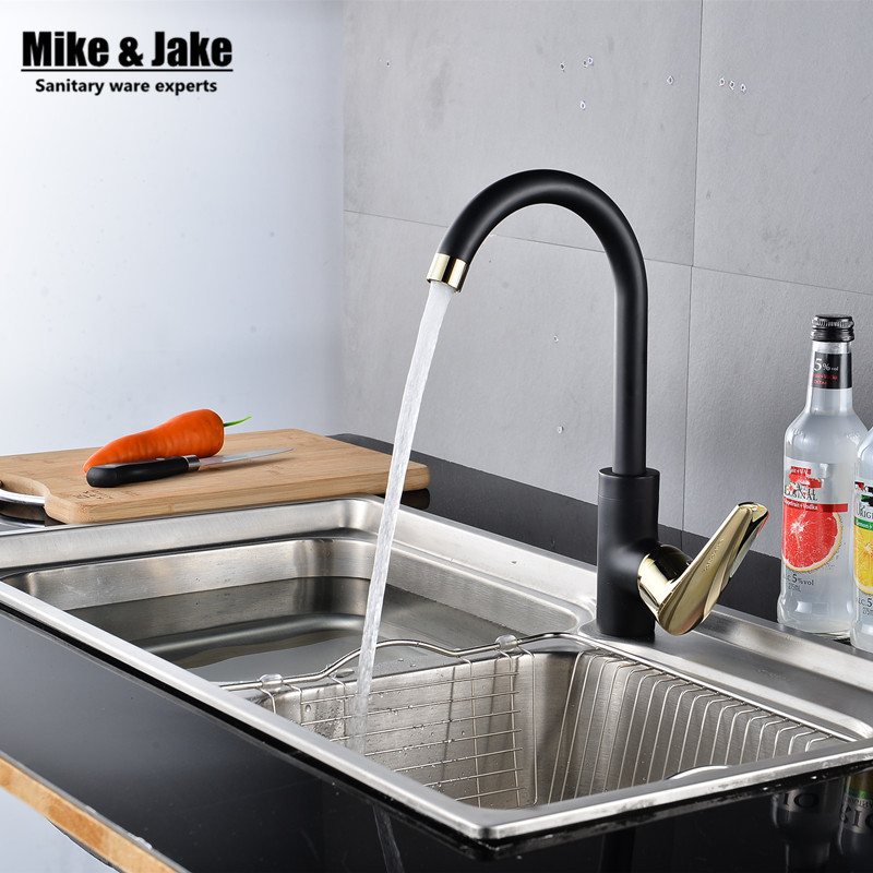 New 360 rotating kitchen faucet black single handle kitchen sink mixer kitchen crane water tap hot