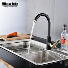 Новые 360 Вращающийся кухонный кран черный одной ручкой кухонной мойки кухня кран водопроводной воды горячей и холодной смеситель для кухни ZZH001