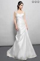 Бесплатная доставка, винтажный 2016 Новый дизайнерский свадебный наряд, большие размеры, простое белое длинное платье с бисером, макси платье