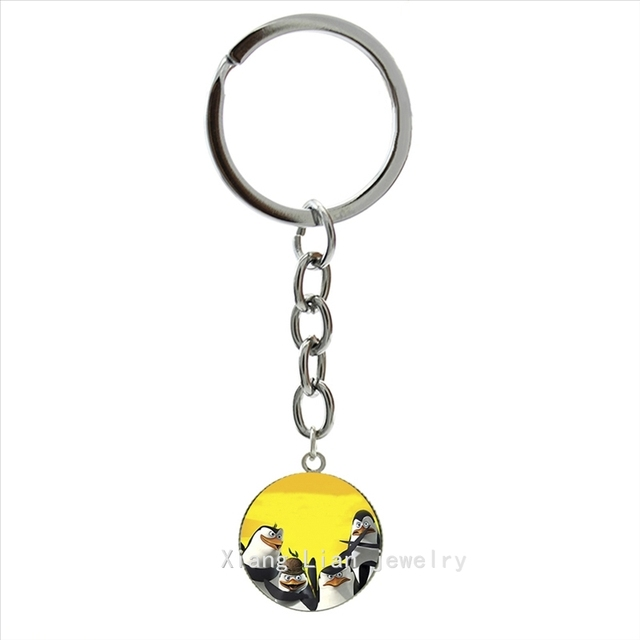 15adab27f18 Cool animal pture key chain new design Penguins of Madagascar art pture  pendant ring jewelry keychain for boys
