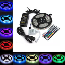 цена на 5050 RGB LED Strip Waterproof DC 12V 5M 300 LED Strips Light Flexible with 3A Power and Remote Control