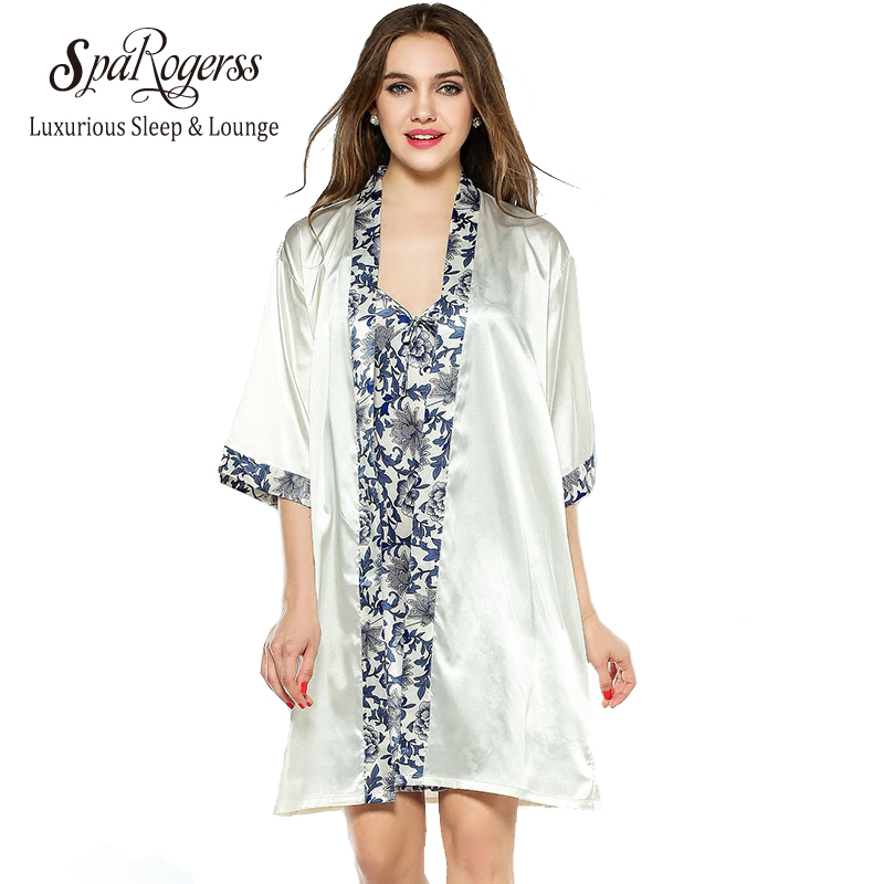 Sparogerss Women Robe Gown Set Fashion Faux Silk