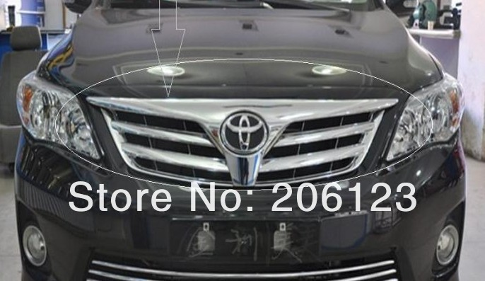 ФОТО stainless steel Front Grille Around Trim For 2011-2013 Toyota Corolla