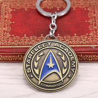 12 Pcs Lot Free Shipping New Arrival Star Trek Shield Metal Keychain Pendant Key Chain Chaveiro