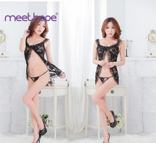 Womens sexy underwear hanging neck + thong ladies pajamas bow lace hot dress babydoll