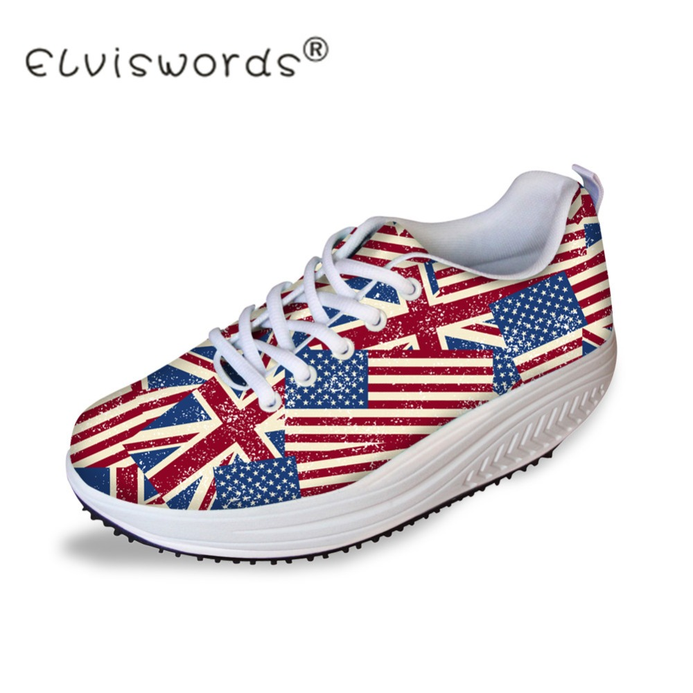 ELVISWORDS Women Casual Swing Shoes UK USA Flags Pattern Flats Platform Female Height Increasing Shoes Shape Ups Ladies Zapatos forudesigns women casual wedge platform shoes 3d animal rabbit printed height increasing shoes shape ups for female swing shoes