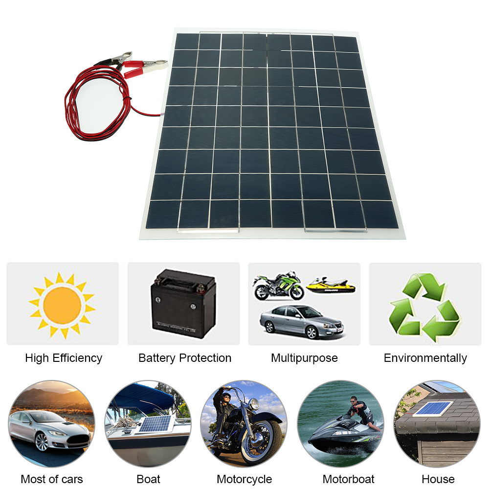High Quality 30W 12V Semi Flexible Solar Panel Device Battery Charger Car battery and accessories