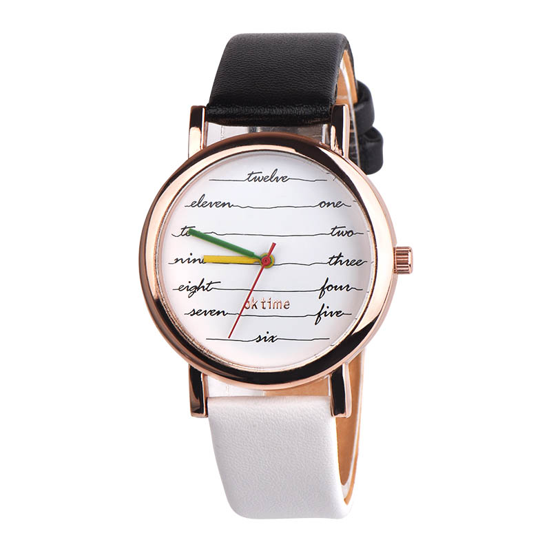 Women Wrist Watch PU Leather Strap Striped Round Dial Sweet Girl Casual Analog Quartz Watches LL@17