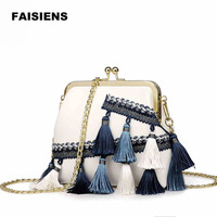 2017 Casual Tassel Women Handbag Simple Fresh Chains Mini Lady Shoulder Bag Black Green And Bei